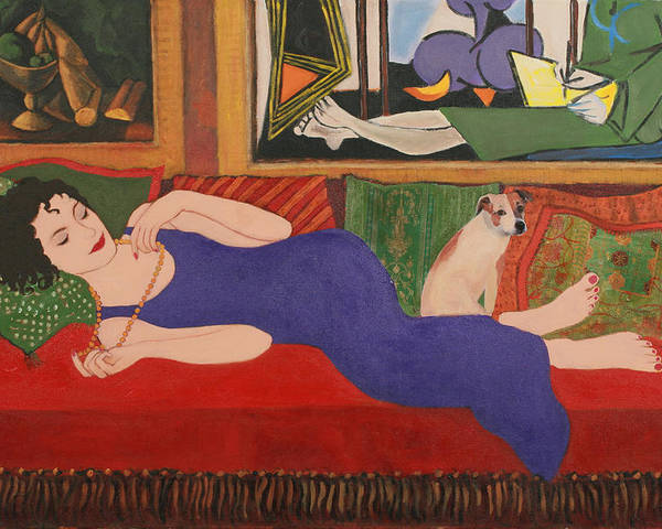 Humorous Poster featuring the painting Lounging With Picasso by Susan Rinehart