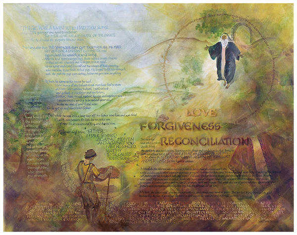 God's Faithfulness Poster featuring the painting Love Forgiveness Reconciliation by Judy Dodds