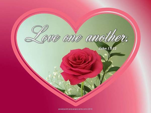 Love One Another; Bible Verse; Heart; Rose; Christian; Photo; Card; Poster; Pink; Red Rose; Valentines; John 15:12 Poster featuring the digital art Love One Another Card by Sonya Nancy Capling-Bacle