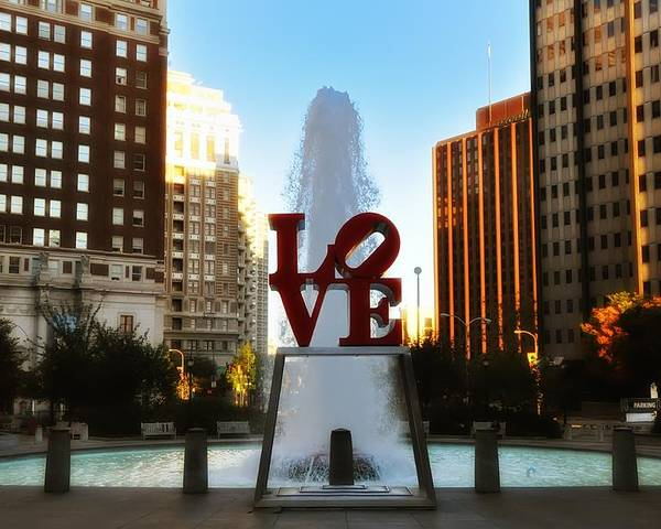 Love Poster featuring the photograph Love Park - Love Conquers All by Bill Cannon