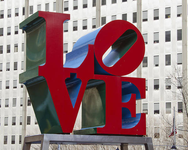 love Park Poster featuring the photograph Love Park In Center City - Philadelphia by Brendan Reals