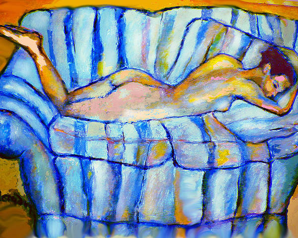 Nude Poster featuring the painting Love Seat by Noredin Morgan