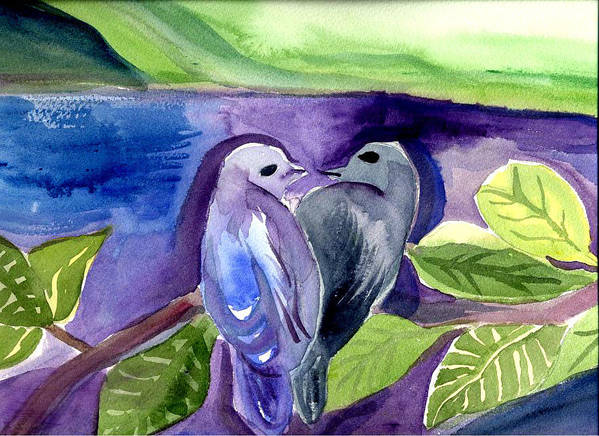 Birds Poster featuring the painting Lovers by Janet Doggett