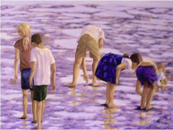 Children At Play Poster featuring the painting Low Tide Exploration by Fran Rittenhouse-McLean