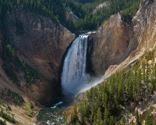 Yellowstone Poster featuring the photograph Lower Falls Of Yellowstone River by Roger Mullenhour