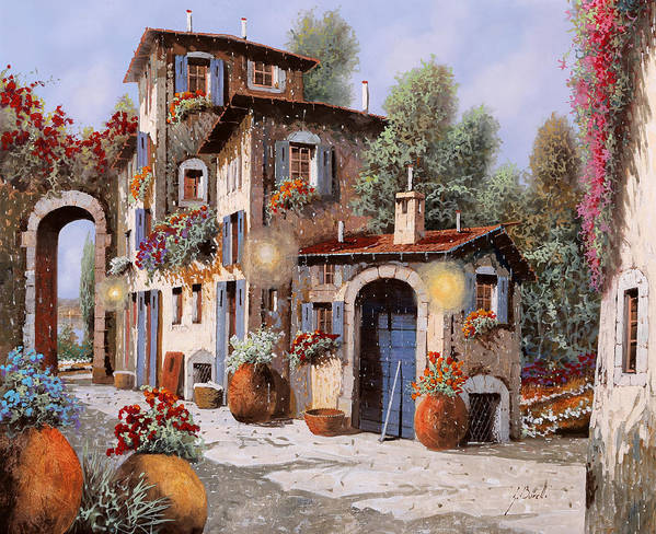 Houses Poster featuring the painting Luci All'entrata by Guido Borelli