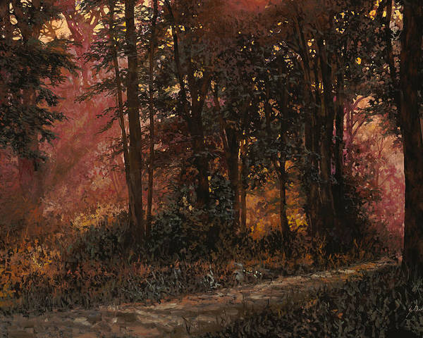 Wood Poster featuring the painting Luci Nel Bosco by Guido Borelli