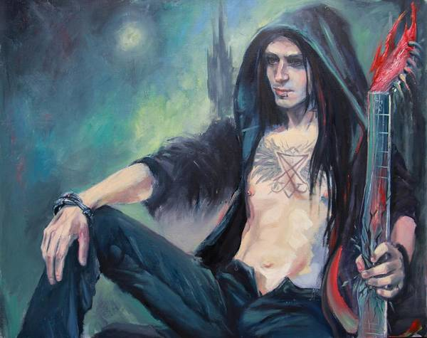 Mythology Poster featuring the painting Lucifer by Irina Sergeyeva