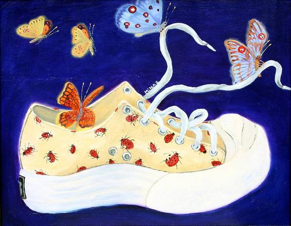 Running Shoes Poster featuring the painting Lucky Lady Bug Shoe by Minaz Jantz