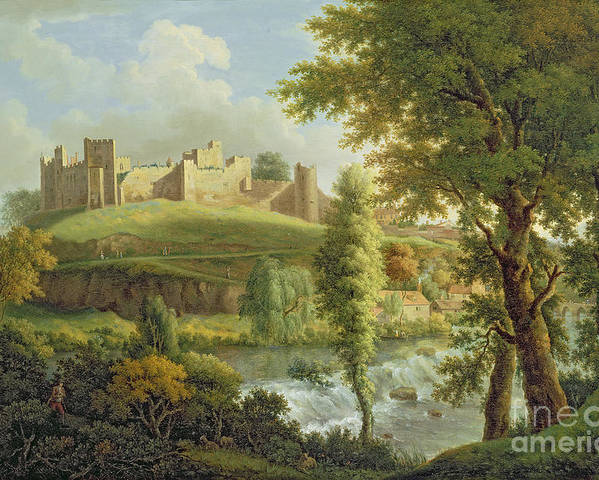 Ludlow Poster featuring the painting Ludlow Castle With Dinham Weir by Samuel Scott