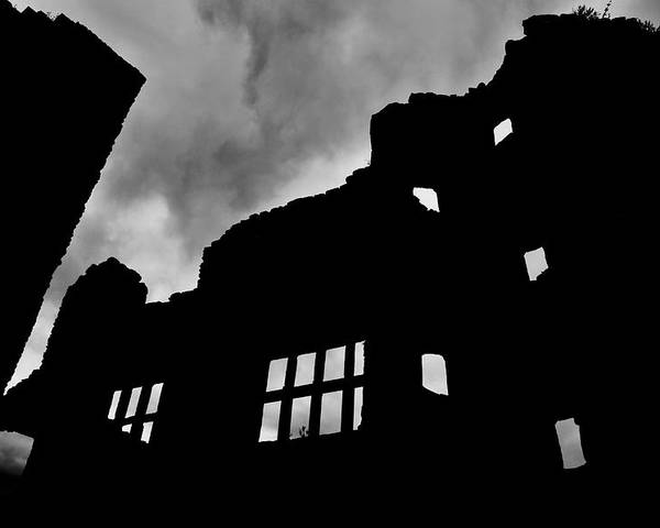 Castle Poster featuring the photograph Ludlow Storm Threatening Skies Over The Ruins Of A Castle Spooky Halloween by Andy Smy
