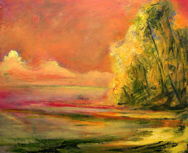 Large Canvas Reproductions Poster featuring the painting Luminous Sunset 2-16-06 Julianne Felton by Julianne Felton