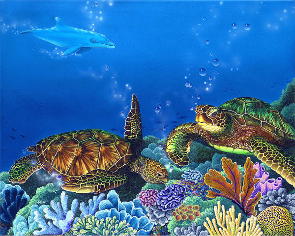 Turtles Poster featuring the painting Lunchtime by Angie Hamlin