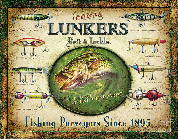 Fish Poster featuring the painting Lunkers Bait and Tackle by JQ Licensing