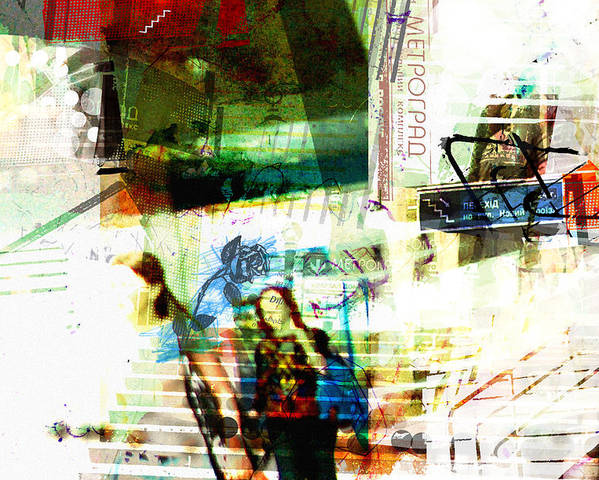 Abstract Poster featuring the digital art Luvgalz 3 by Piotr Storoniak