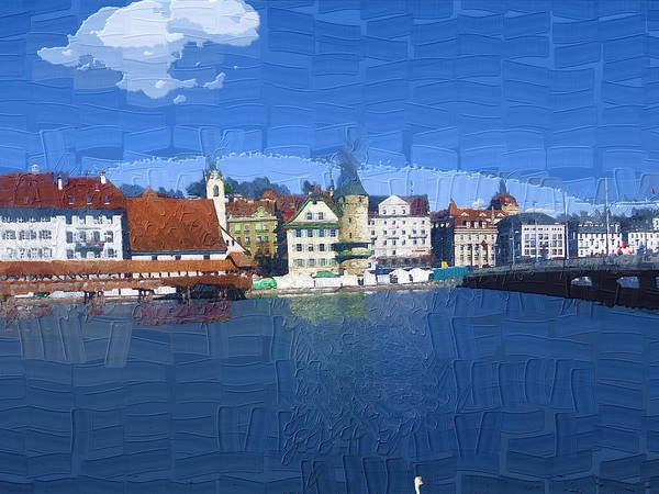 Landscape Poster featuring the photograph Luzern Lake Front by Chuck Shafer