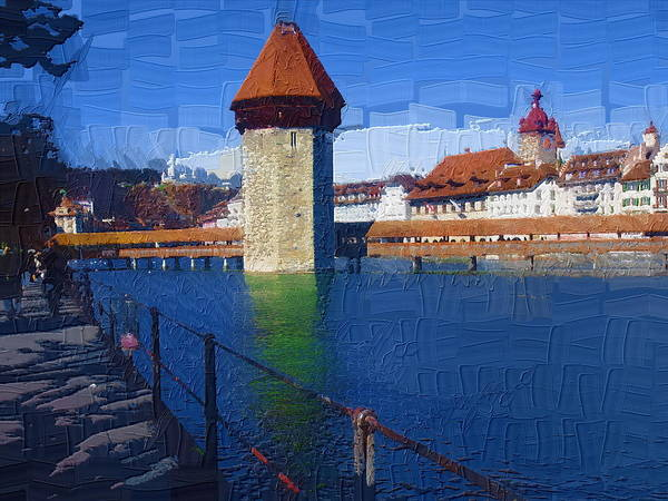 Landscape Poster featuring the photograph Luzern Tower by Chuck Shafer