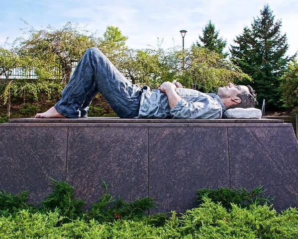 Lying Man Sculpture In Frederik Meijer Gardens And Sculpture Park In Grand  Rapids-michigan Poster