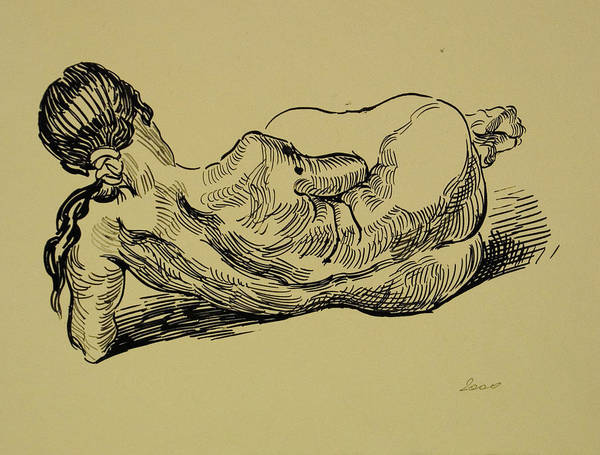 Woman Poster featuring the drawing Lying Nude Woman by Vitali Komarov