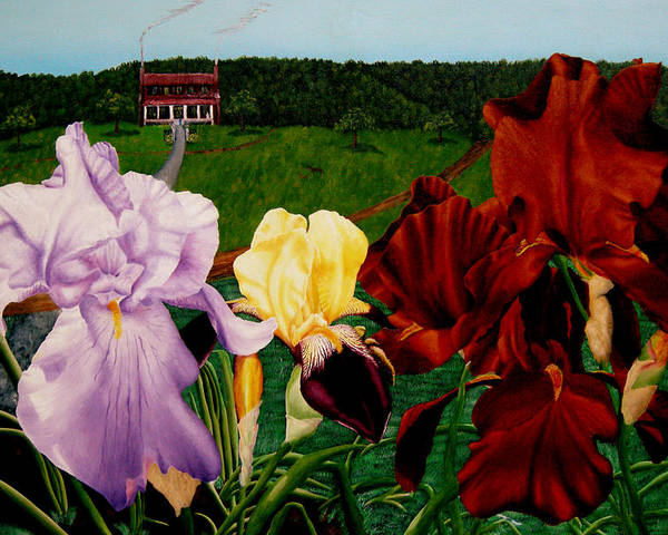 Garden Poster featuring the painting M S O S Irises 2 by Ivan Rijhoff