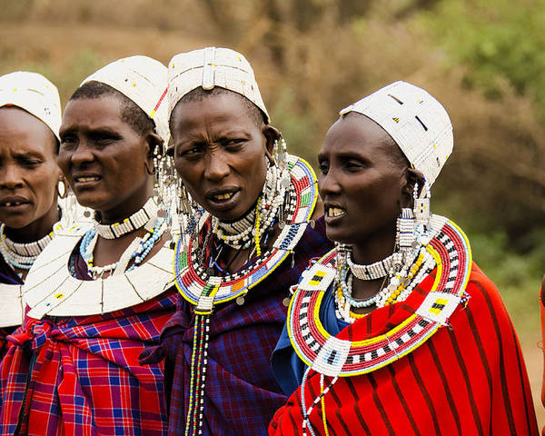 Maasai Tribe Poster featuring the photograph Maasai Women by Gene Myers