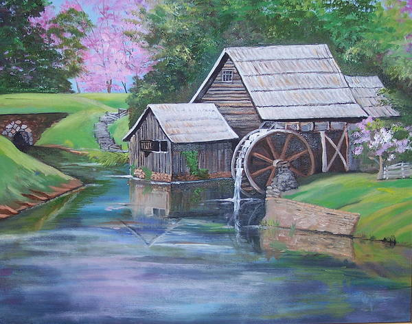 Landscape Poster featuring the painting Mabry Mill by Audrie Sumner