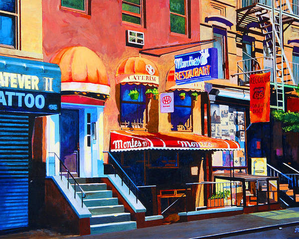 Macdougal Street Poster featuring the painting Macdougal Street by John Tartaglione