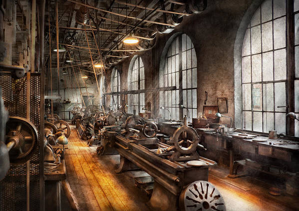 Hdr Poster featuring the photograph Machinist - A Room Full Of Lathes by Mike Savad