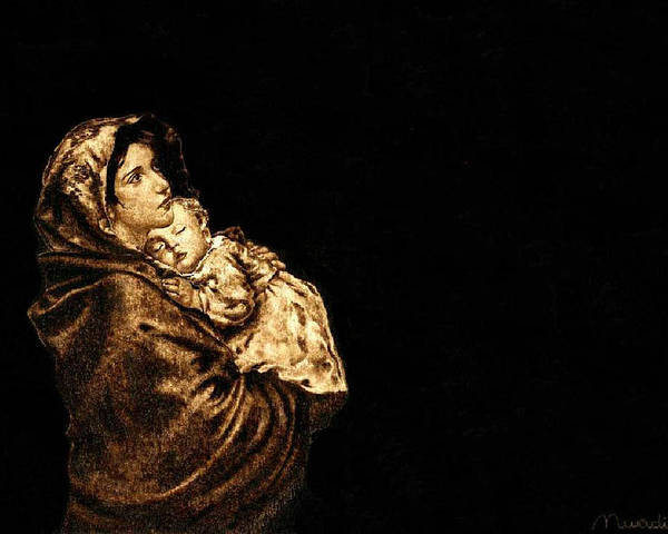 Dino Muradian Poster featuring the pyrography Madonnina by Dino Muradian