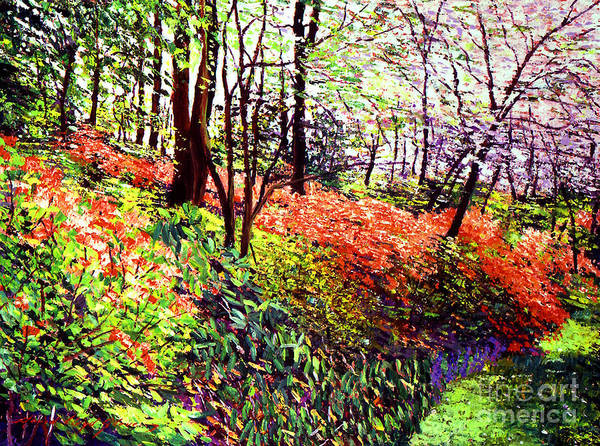 Trees Poster featuring the painting Magic Flower Forest by David Lloyd Glover