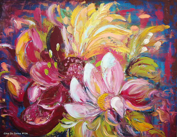 Magic Poster featuring the painting Magic Flowers by Gina De Gorna