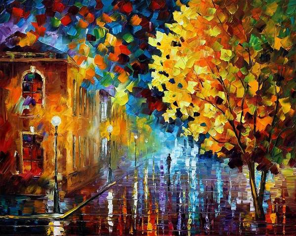 Afremov Poster featuring the painting Magic Rain by Leonid Afremov