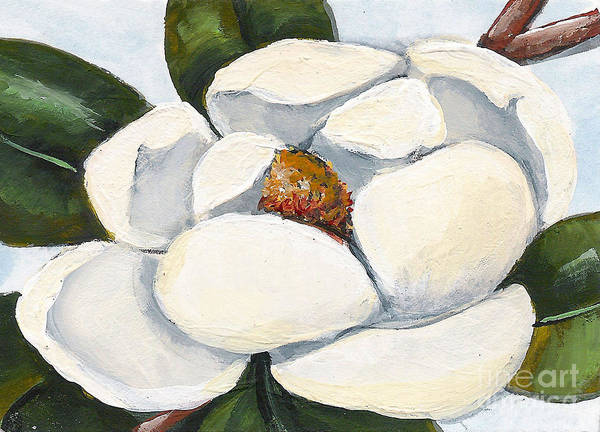 Floral Poster featuring the painting Magnolia On Blue by Elaine Hodges