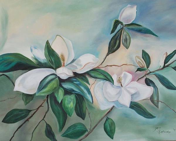 Flowers Poster featuring the painting Magnolia Summer by Margaret Fortunato