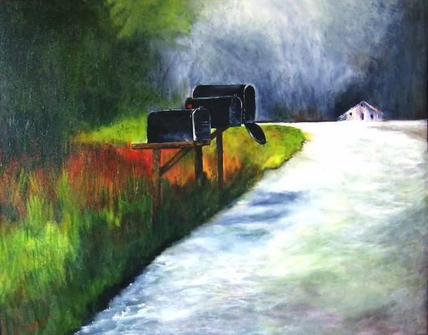 Landscape Poster featuring the painting Mail Call by Julie Lamons