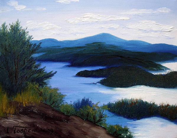 Maine Poster featuring the painting Maine Bay Islands by Laura Tasheiko