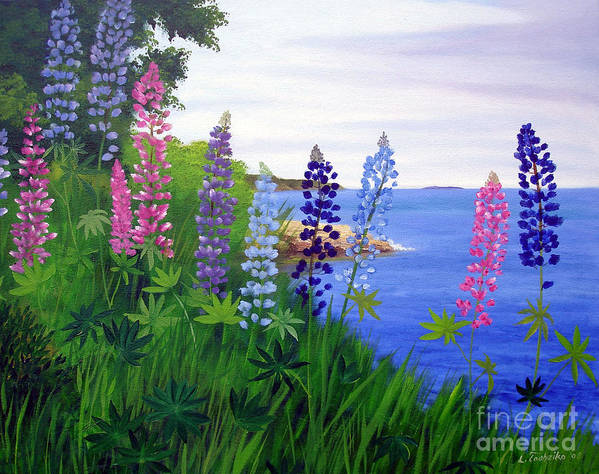 Wildflowers Poster featuring the painting Maine Bay Lupine Flowers by Laura Tasheiko
