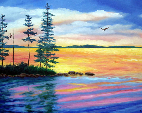 Maine Poster featuring the painting Maine Evening Song by Laura Tasheiko