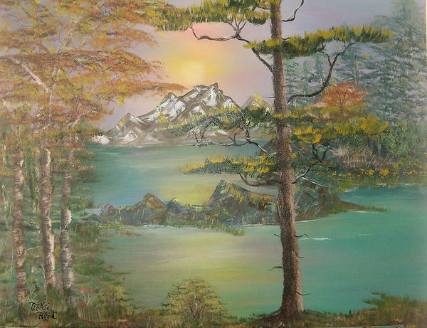 Landscape Poster featuring the painting Majestic Cove by Mikki Alhart