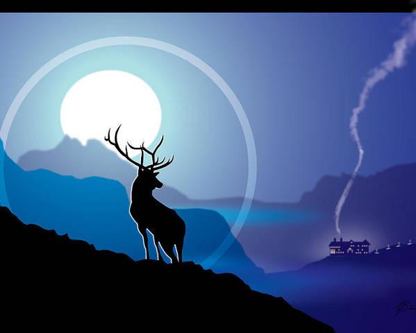Elk Poster featuring the digital art Majestic Elk Coolridge by Dana Bennett