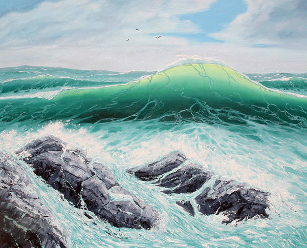 Sea Scapes Poster featuring the painting Majestic Sea by Lorraine Foster