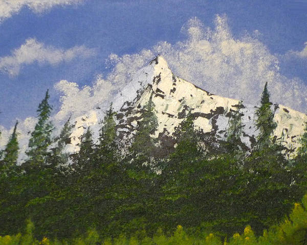 Mountains Poster featuring the painting Majestic White by Christian Hidalgo
