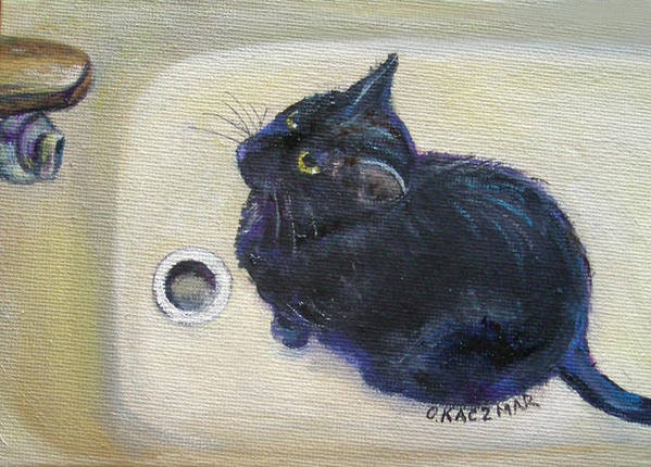 Black Cat Poster featuring the painting Make It Drip Please by Olga Kaczmar