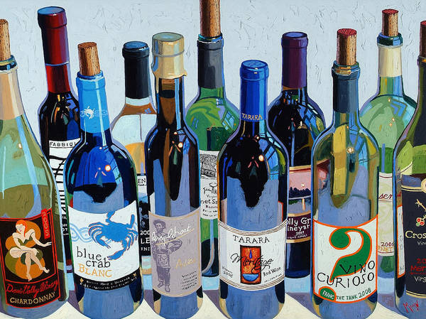 Wine Art Poster featuring the painting Make Mine Virginia Wine Number Three by Christopher Mize