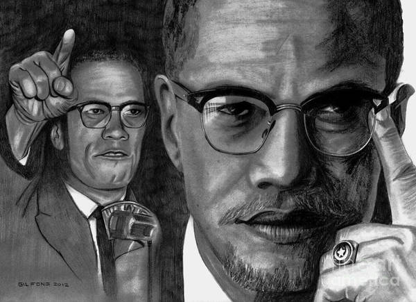 Malcolm X Poster featuring the drawing Malcolm X by Gil Fong