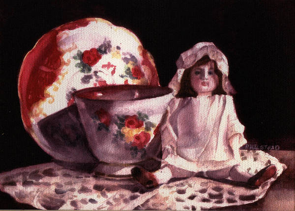 Watercolor Poster featuring the painting Mama's Doll by Patricia Halstead