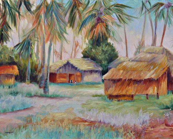 Mambasa Poster featuring the painting Hut Village in Mambasa by Ginger Concepcion