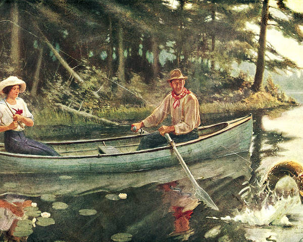 Frank Stick Poster featuring the painting Man And Woman Fishing by JQ Licensing