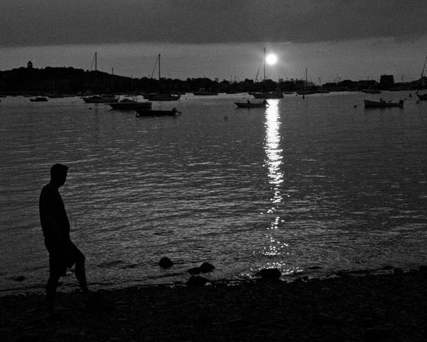 Black And White Poster featuring the photograph Man At Sunset by Gene Sizemore