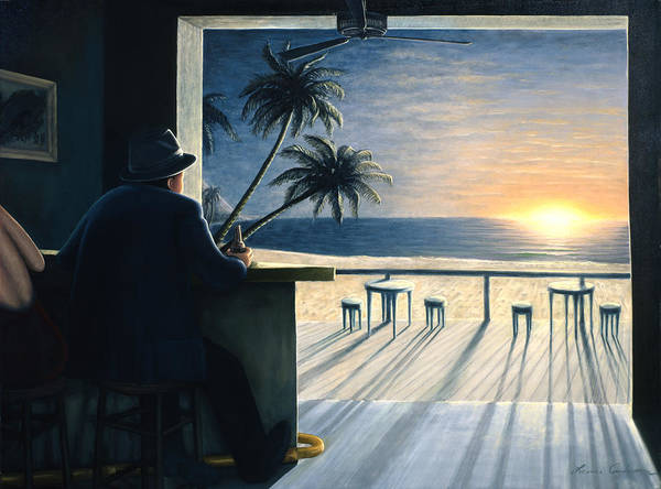 Sunset Poster featuring the painting Man at the Bar by Lance Anderson